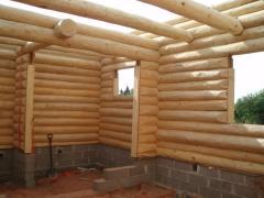 Дома срубы из оцилиндрованной древесины.
