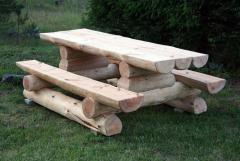 Мебель деревянная садовая из сруба