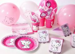 Одноразовая посуда Hello Kitty для детских праздников